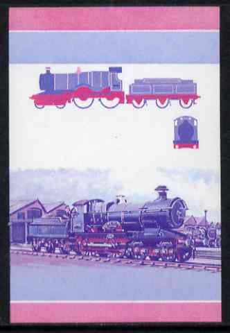 St Vincent - Bequia 1984 Locomotives #1 (Leaders of the World) $2 (City of Truro) unmounted mint se-tenant imperf progressive proof pair in magenta & blue