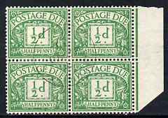 Great Britain 1937 Postage Due 1/2d emerald wmk GviR marginal block of 4 with reinforced perfs but superb used, SH D27