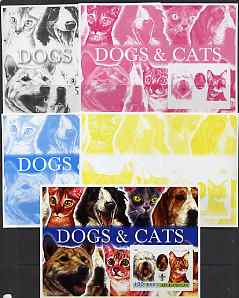 Afghanistan 2003 Dogs & Cats #2 m/sheet with Baden Powell & Scout Logo - the set of 5 imperf progressive proofs comprising the 4 individual colours plus all 4-colour composite, unmounted mint