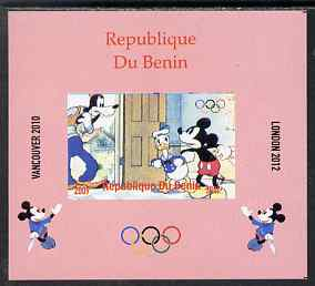 Benin 2009 Olympic Games - Disney Characters #01 individual imperf deluxe sheet unmounted mint. Note this item is privately produced and is offered purely on its thematic appeal
