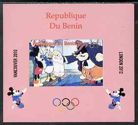 Benin 2009 Olympic Games - Disney Characters #02 individual imperf deluxe sheet unmounted mint. Note this item is privately produced and is offered purely on its thematic appeal, stamps on olympics, stamps on cartoons , stamps on disney, stamps on films, stamps on cinema, stamps on movies