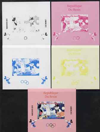 Benin 2009 Olympic Games - Disney Characters #02 individual deluxe sheet - the set of 5 imperf progressive proofs comprising the 4 individual colours plus all 4-colour composite, unmounted mint