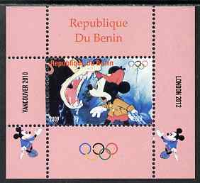 Benin 2009 Olympic Games - Disney Characters #03 individual perf deluxe sheet unmounted mint. Note this item is privately produced and is offered purely on its thematic appeal