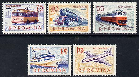 Rumania 1963 Transport set of 5 unmounted mint, SG 3031-35, Mi 2161-65