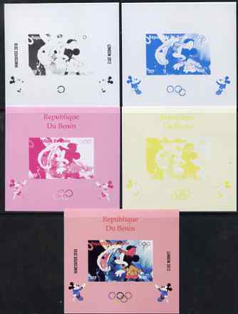 Benin 2009 Olympic Games - Disney Characters #03 individual deluxe sheet - the set of 5 imperf progressive proofs comprising the 4 individual colours plus all 4-colour composite, unmounted mint