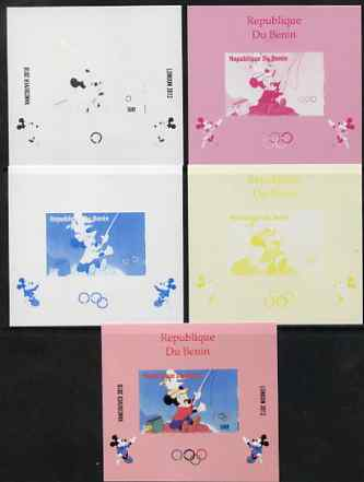 Benin 2009 Olympic Games - Disney Characters #13 individual deluxe sheet - the set of 5 imperf progressive proofs comprising the 4 individual colours plus all 4-colour composite, unmounted mint