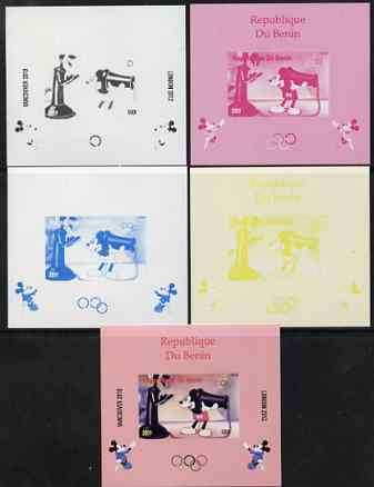 Benin 2009 Olympic Games - Disney Characters #14 individual deluxe sheet - the set of 5 imperf progressive proofs comprising the 4 individual colours plus all 4-colour co...