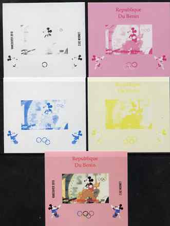 Benin 2009 Olympic Games - Disney Characters #15 individual deluxe sheet - the set of 5 imperf progressive proofs comprising the 4 individual colours plus all 4-colour composite, unmounted mint