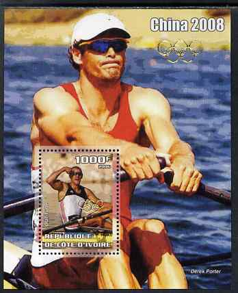 Ivory Coast 2006 Beijing Olympics - Rowing Olaf Tufte #1 perf s/sheet overprinted with Olympic Rings in gold on stamp and in border, unmounted mint. Note this item is privately produced and is offered purely on its thematic appeal