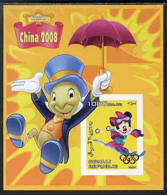 Somalia 2007 Disney - China 2008 Stamp Exhibition #06 imperf m/sheet featuring Minny Mouse & Jiminy Cricket overprinted with Olympic rings in gold foil, unmounted mint. Note this item is privately produced and is offered purely on its thematic appeal