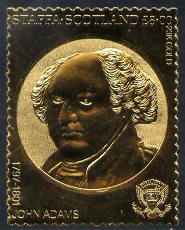 Staffa 1982 US Presidents \A38 John Adams embossed in 22k gold foil from a limited printing unmounted mint
