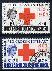 Hong Kong 1963 Centenary of Red Cross perf set of 2 cds used, SG 212-3