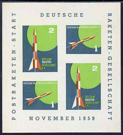 Cinderella - Germany 1959 Rocket Post imperf sheetlet containing 4 labels on gummed paper (gum disturbed)