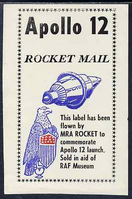 Cinderella - United States RAF Museum flown label to commemorate the launch o Apolo 12 on ungummed paper