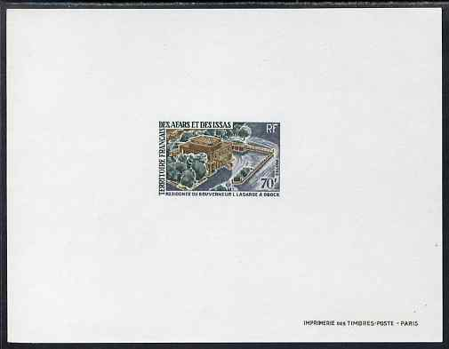 French Afars & Issas 1968-70 Buildings & Landmarks - Governor's Residence 70f Epreuve deluxe proof sheet in issued colours, as SG 528