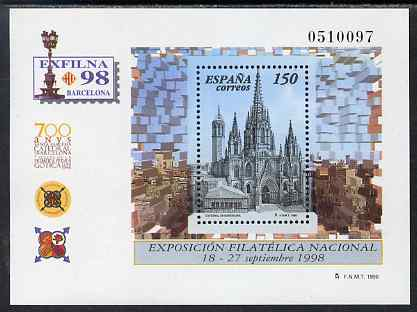 Spain 1998 Exfilna '98 Stamp Exhibition perf m/sheet unmounted mint SG MS 3490