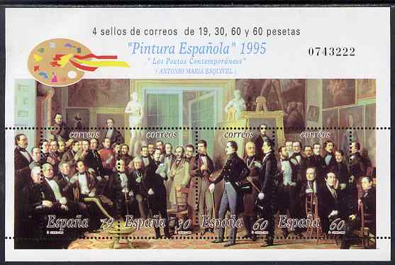 Spain 1995 Art composite perf sheetlet containing 4 values unmounted mint SG MS 3359