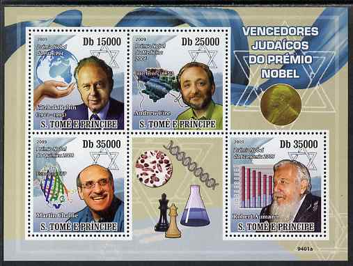 St Thomas & Prince Islands 2009 Jewish Nobel Prize Winners perf sheetlet containing 4 values unmounted mint