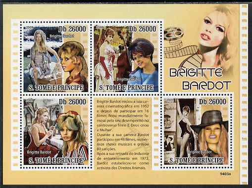St Thomas & Prince Islands 2009 Brigitte Bardot perf sheetlet containing 4 values unmounted mint