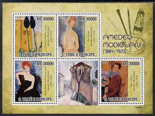 St Thomas & Prince Islands 2009 Amedeo Modigliani perf sheetlet containing 4 values unmounted mint