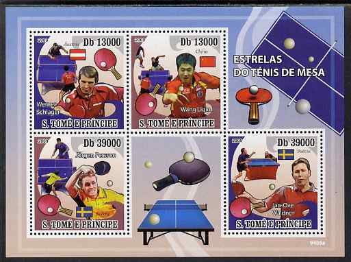 St Thomas & Prince Islands 2009 Table Tennis Stars perf sheetlet containing 4 values unmounted mint