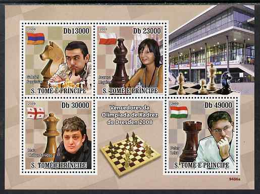 St Thomas & Prince Islands 2009 Winners Dresden Chess Olympiad perf sheetlet containing 4 values unmounted mint