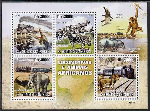 St Thomas & Prince Islands 2009 Trains & Animals of Africa perf sheetlet containing 4 values unmounted mint