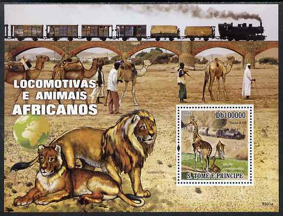 St Thomas & Prince Islands 2009 Trains & Animals of Africa perf s/sheet unmounted mint