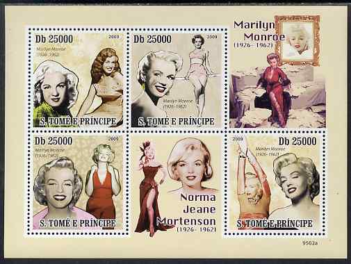 St Thomas & Prince Islands 2009 Marilyn Monroe perf sheetlet containing 4 values unmounted mint, stamps on , stamps on  stamps on personalities, stamps on  stamps on films, stamps on  stamps on cinema, stamps on  stamps on movies, stamps on  stamps on music, stamps on  stamps on marilyn, stamps on  stamps on monroe