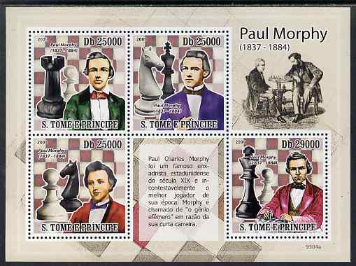 St Thomas & Prince Islands 2009 Chess - Paul Morphy perf sheetlet containing 4 values unmounted mint