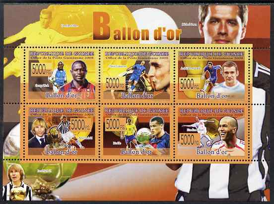 Guinea - Conakry 2009 Famous Footballers perf sheetlet containing 6 values unmounted mint