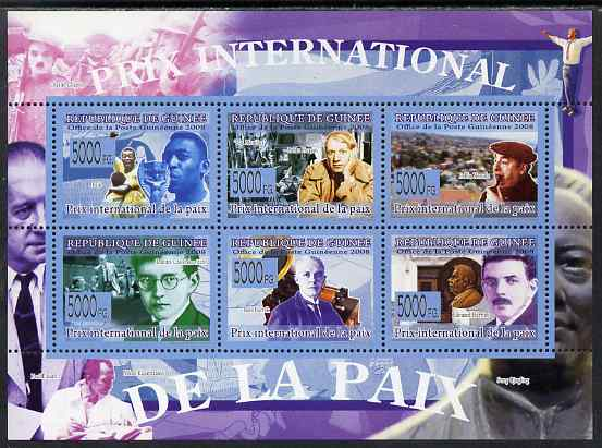 Guinea - Conakry 2009 International Peace Prize perf sheetlet containing 6 values unmounted mint