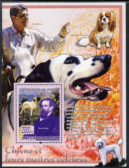 Guinea - Conakry 2009 Dogs and their Masters (Dickens & Reagan) perf s/sheet unmounted mint