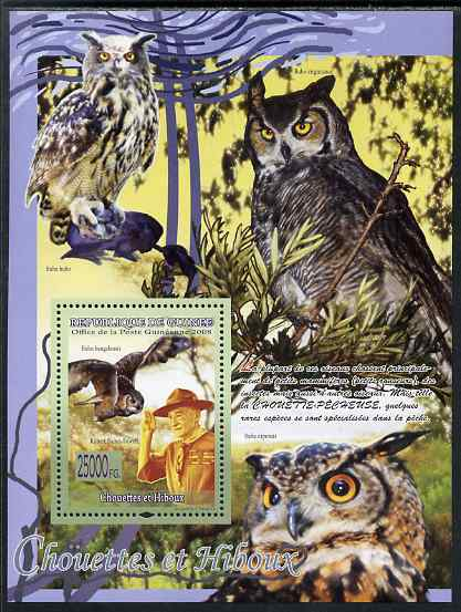 Guinea - Conakry 2009 Owls and Scouts #2 perf s/sheet unmounted mint