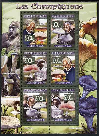 Guinea - Conakry 2009 Fungi & Albert Schweitzer perf sheetlet containing 6 values unmounted mint