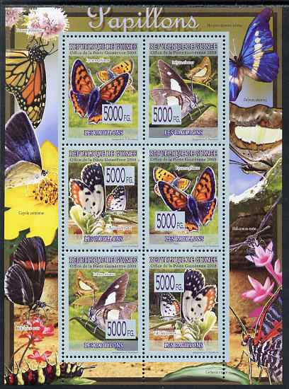Guinea - Conakry 2009 Butterflies perf sheetlet containing 6 values unmounted mint