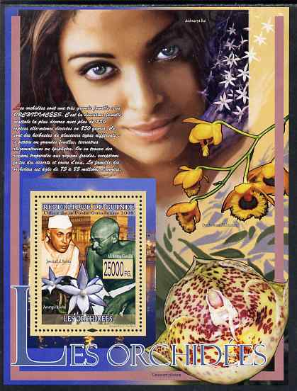 Guinea - Conakry 2009 Mahatma Gandhi and Orchids (plus Nehru) perf s/sheet unmounted mint