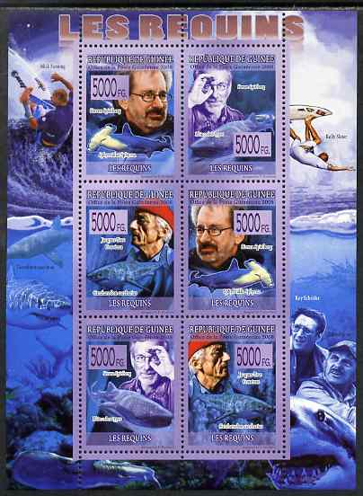 Guinea - Conakry 2009 Sharks (with Jacques Cousteau & Steven Spielberg) perf sheetlet containing 6 values unmounted mint