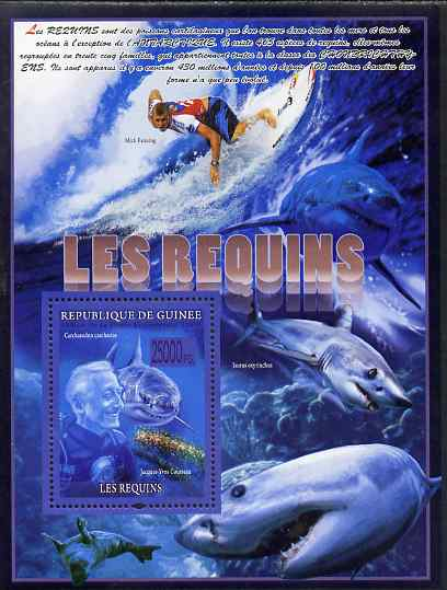 Guinea - Conakry 2009 Sharks (with Jacques Cousteau) perf sheetlet containing 6 values unmounted mint, stamps on personalities, stamps on fish, stamps on sharks, stamps on films, stamps on movies, stamps on cinema, stamps on scuba, stamps on surf boarding