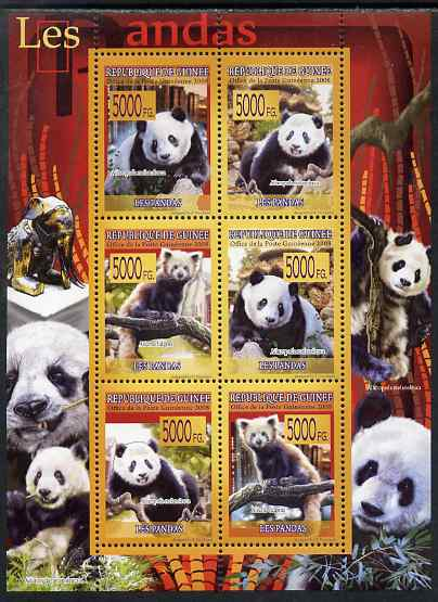 Guinea - Conakry 2009 Pandas perf sheetlet containing 6 values unmounted mint