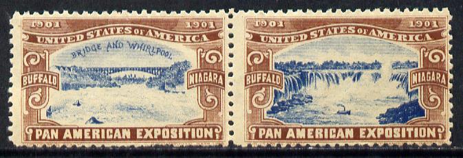 Cinderella - United States 1901 Pan American Exposition se-tenant pair showing Buffalo Bridge & Niagara Falls in brown & blue
