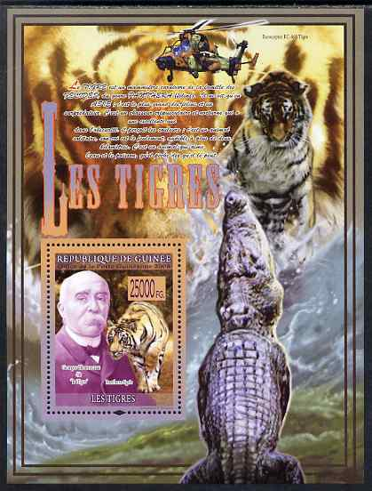 Guinea - Conakry 2009 Big Cats (Tigers with Georges Clemenceau) perf s/sheet unmounted mint