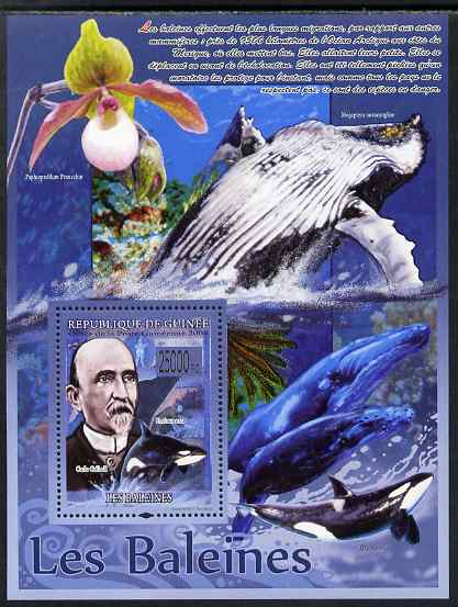 Guinea - Conakry 2009 Whales (with Carlo Collodi) perf s/sheet unmounted mint