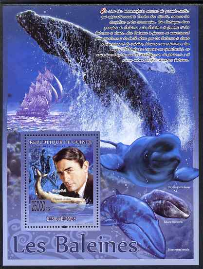 Guinea - Conakry 2009 Whales (with Gregory Peck) perf s/sheet unmounted mint