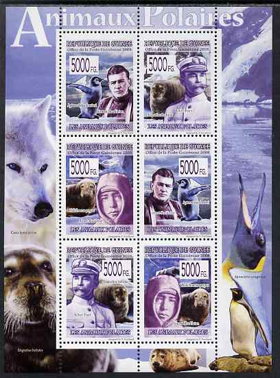 Guinea - Conakry 2009 Polar Animals & Explorers perf sheetlet containing 6 values unmounted mint
