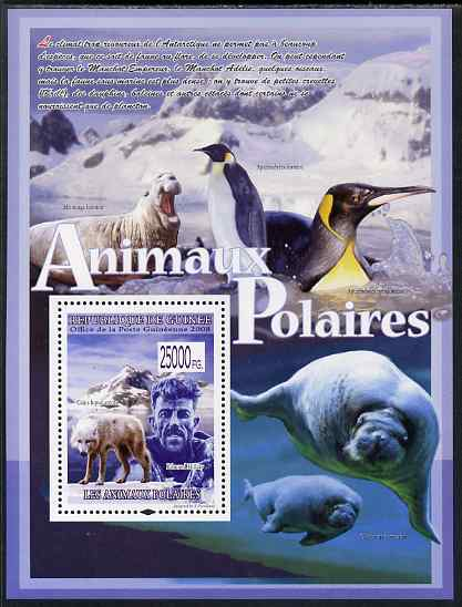 Guinea - Conakry 2009 Polar Animals & Explorers #1 perf s/sheet unmounted mint