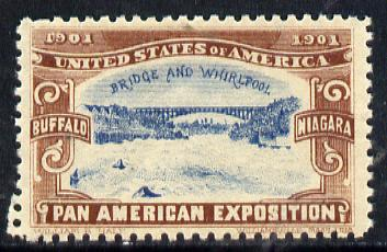 Cinderella - United States 1901 Pan American Exposition perforated label showing Buffalo Bridge in brown & blue*
