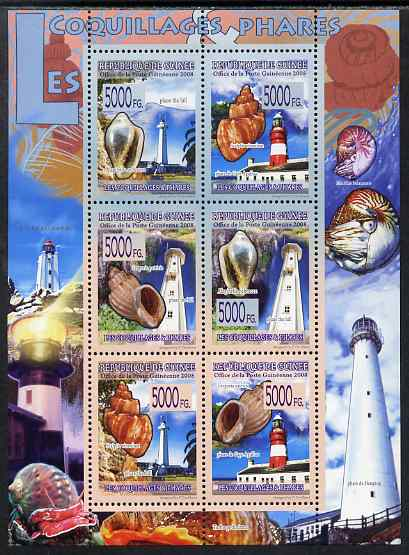 Guinea - Conakry 2009 Lighthouses and Shells perf sheetlet containing 6 values unmounted mint