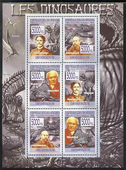 Guinea - Conakry 2009 Dinosaurs & Paleontologists perf sheetlet containing 6 values unmounted mint