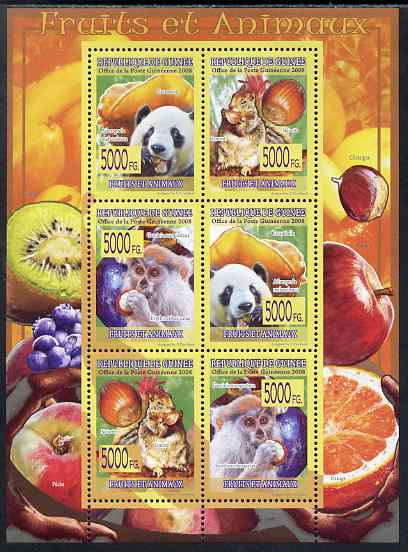 Guinea - Conakry 2009 Animals and Fruits perf sheetlet containing 6 values unmounted mint
